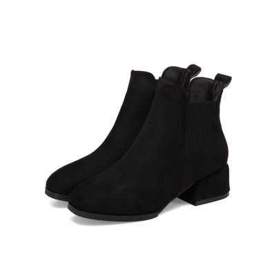 Herfst Winter Laarzen vrouwen Kameel Zwarte Enkellaars Voor Vrouwen Dikke Hak Slip Op Dames Schoenen Laarzen Bota Feminina 36 -41