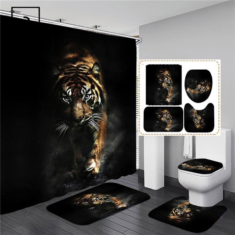 Black Tiger Animals Printed Shower Curtain Set Bathroom Bathing Screen Anti-slip Toilet Lid Cover Carpet Rugs Kitchen Home Decor