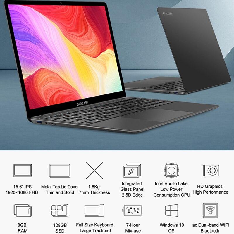 Newest Teclast F15S 15.6 Inch Laptop Windows 10 Notebook 1920x1080 Intel Apollo Lake Laptops 8GB RAM 128GB SSD Dual Wifi HDMI-2