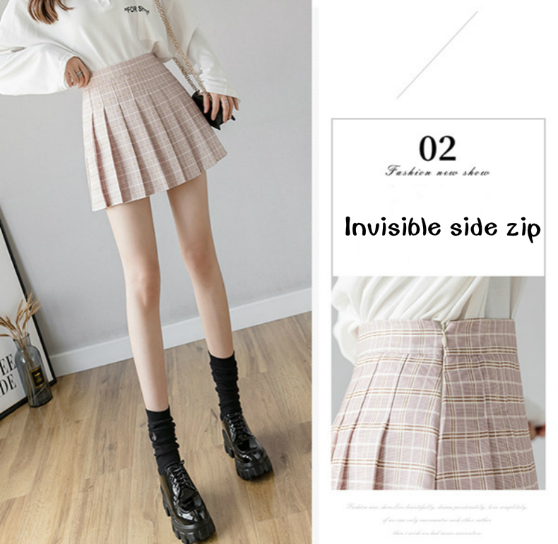XS-XXL High Waist A-Line Women Skirt Striped Stitching Sailor Pleated Skirt Elastic Waist Sweet Girls Dance Skirt Plaid Skirt 45