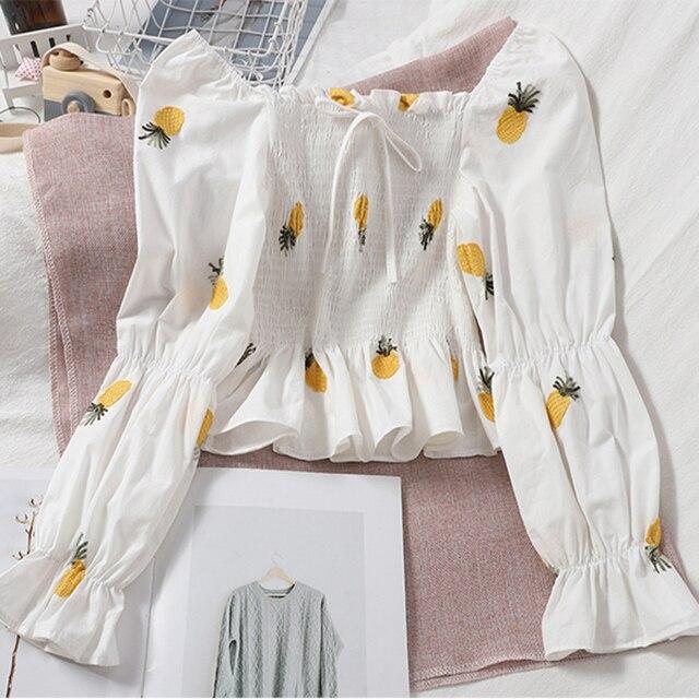 LJSXLS 2020 Autumn Sexy Off Shoulder Blouse Women Slim Crop Tops Blusas Mujer Korean Fashion Woman Embroidery Flare Sleeve Shirt 5