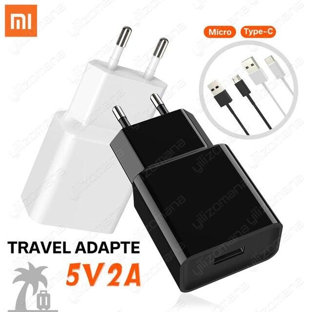 Original Xiaomi adaptador de cargador de la UE 5V/2A tipo Micro USB C Cable para Mi 5 5 5 6 6 7 8 mezclar 2 Max 3S Redmi Note 3 4 5 6 pro 4X 5S viajes