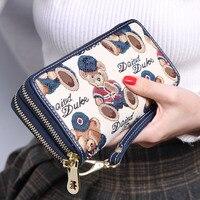 Multi functional handbag Womens wallets and purses Cartoon Little bear High quality Wallet women purses Large capacity wallet