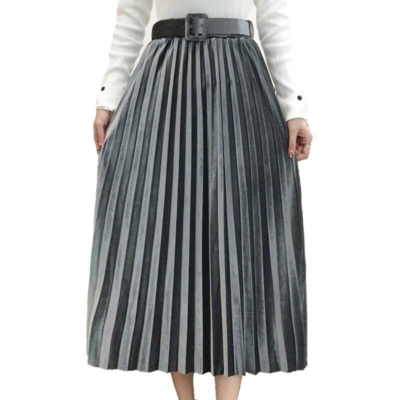 FairyShely 2019, бархатная плиссированная длинная юбка для женщин, Осень-зима, эластичная лента, высокая талия, Теплая юбка, черная, макси, офисная юбка