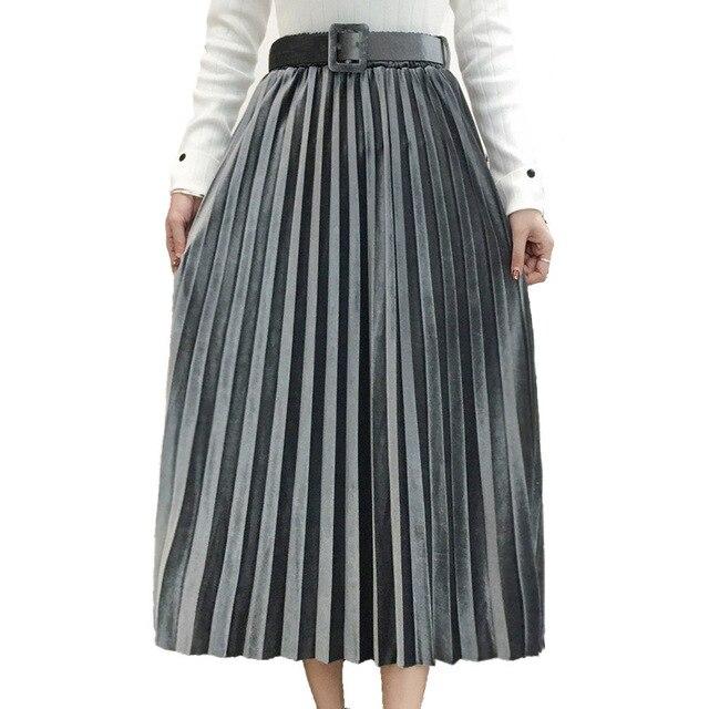 FairyShely 2020 Vintage Velvet Pleated Long Skirt Women High Waist Midi Skirt Korean Black Elastic Band Belt Maxi Skirts Womens 8