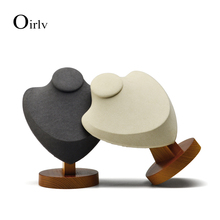 Oirlv Wooden Necklace Display Stand with Microfiber insert Mannequin Model Pendant Holder Jewelry Expositor Shop Counter