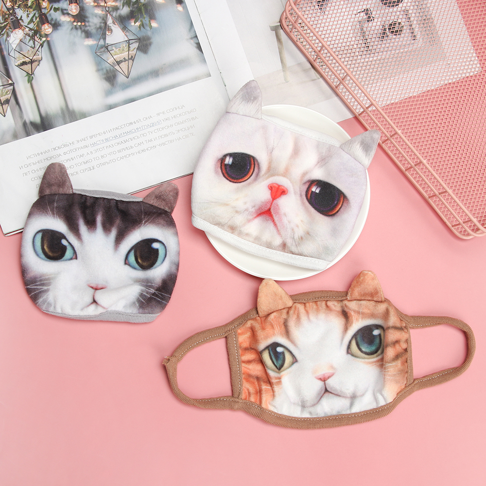1pc Reusable Fashion Cute Cotton Dustproof Mouth Face Mask 3D Animal Cat Women Men Face Mouth Masks Face Masks Respirator