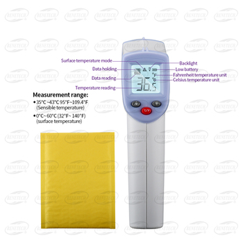 2 in 1 Digital non-contact Infrared Thermometer with Backlight, Infra Red Temperature Meter for Object Surface