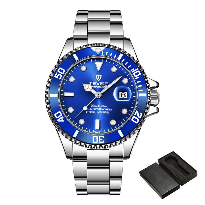 Fashion Brand TEVISE Men Stailness steel Band Automatic Mechanical Watch Fashion Calendar Display Business Mens Watches
