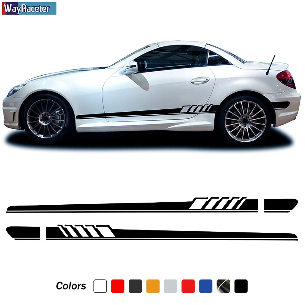 2 Pcs Car Door Side Stripe Skirt Sticker Vinyl Decal For Mercedes Benz SLK Class R170 R171 R172 SLK55 AMG SLK200 250 Accessories