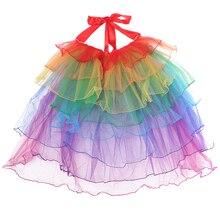Брендовые новые детские юбки, женские сетчатые юбки для взрослых, многослойная юбка-американка, вычурная юбка с оборкой, с высокой посадкой, разноцветная модная юбка с бантом