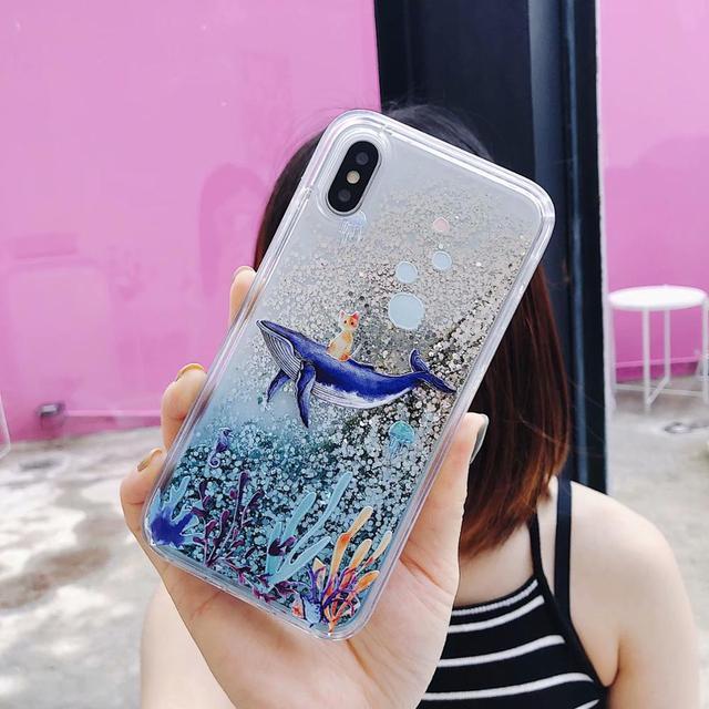 Pour iPhone 11 Pro 6 7 8 Xs XR Max SE2020 étui dynamique liquide baleine corail paillettes Quicksand étui arrière mobile S20 S10 S9 Note10 +