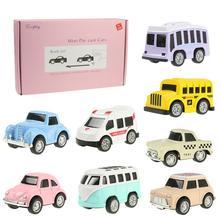 8 шт./компл. милый мини-автомобиль сплав тянуть обратно автомобили-модельная игрушка в виде симпатичных красочные такси игрушки брелок для автомобильных ключей, для детей, подарок