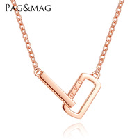 PAG MAG Letter LOVE Lady Necklace S925 Pure Silver Rose Gold Korean Keybone Chain Simple Pendant