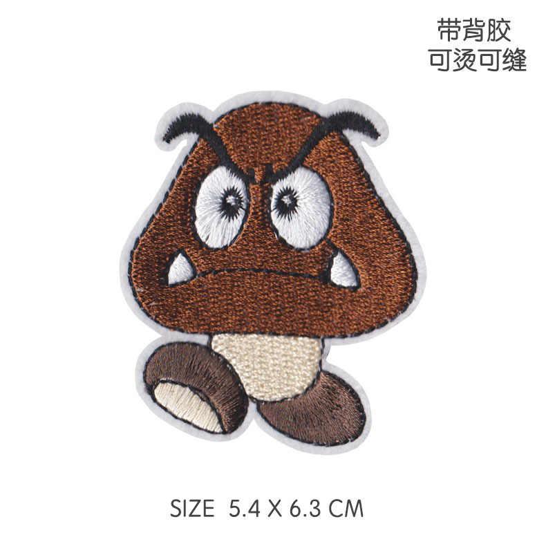 1PCS סופר מריו סמל תיקון ברזל על בגדי עבור DIY אביזרי משחק אופי Applique Goomba רקום תפירת ספקי