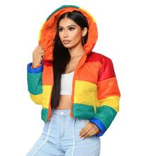 Best design rainbow color block hooded winter down coat Women Fashion Winter Clothes hooded color block ribbed coat