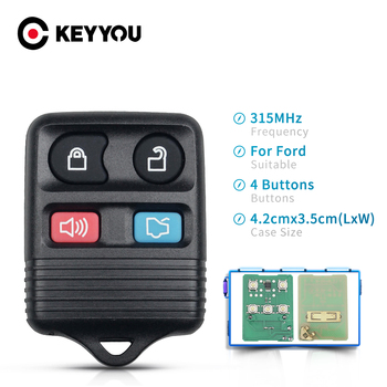 KEYYOU 315MHz 3/4 Button Car Replacement Remote Control Key Fob For Ford Focus Escape Explorer Ranger Freestyle Taurus 1998-2010 image