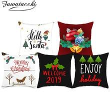 Fuwatacchi Christmas Festival Gift Cushion Covers Xmas Snowman Santa Claus Pillow Cover For Home Sofa Car Decorative Pillowcases