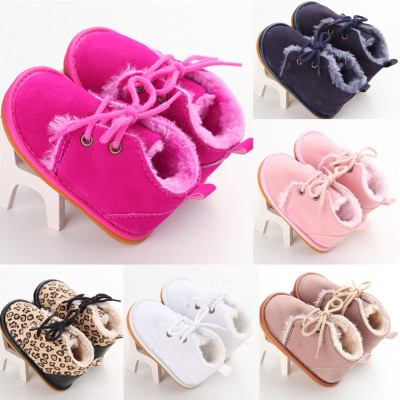 Newborn Baby Girl Boy Shoes Warm Snow Boots Toddler Infant Booties Prewalker Black White Pink First Walkers Baby Shoes 0-18M