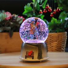 Illuminated Musical Snow Globe Romantic Valentine Gift Orbs Girl Boy Design Glass Crystal Globes