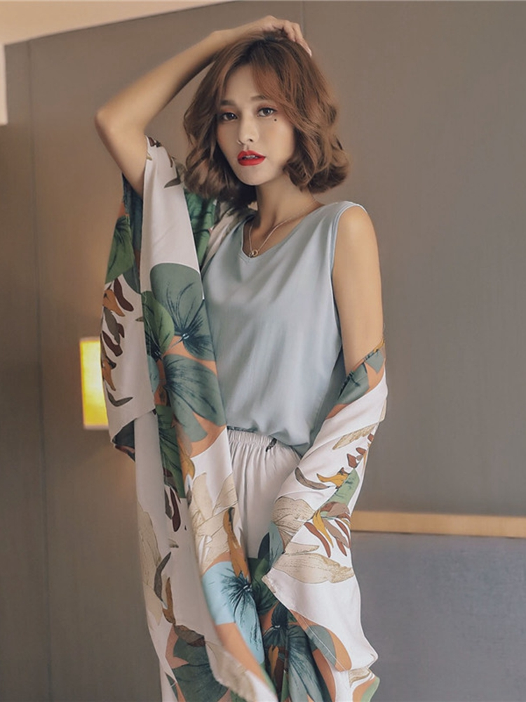 Pajamas-Sets Shorts Viscose-Robe Night-Suit Spring Female Sleepwear July's Song Floral-Printed