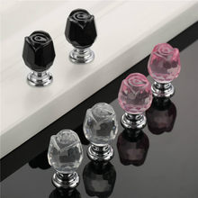 Crystal Glass Rose Door Knobs Drawer Handle For Furniture Door Handles Drawer Cabinet Hardware 20*33mm 2PCS(China)