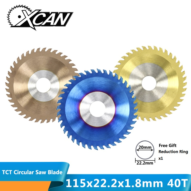 XCAN 1pc Diameter 115x22.2mm 40T TCT Circular Saw Blade Nano Blue/TiN/TiCN Coating Woodworking Cutting Disc Carbide Saw Blade