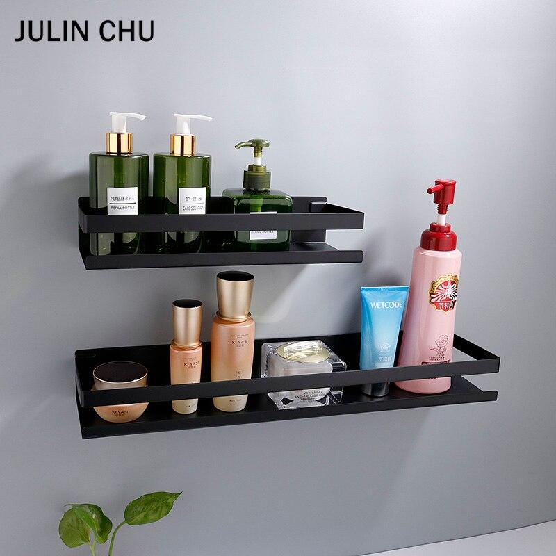 Stainless Steel Bathroom Shelf Black Shower Shampoo Storage Rack Adhesive Suqare Kitchen Bathroom Shlef  20cm 30cm 40cm 50cm