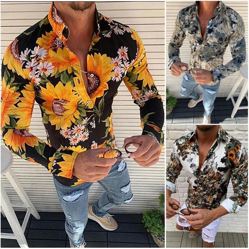 Stylish M-3XL Fashion Men Blouses Hawaiian Men Floral Short Shirts Sleeve V Neck T-shirt Holiday Casual Button Shirts Top