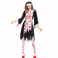 JIEZuoFang Women Halloween Cosplay Costume Bloody Dress Priest Horror Vampire Zombie Disguise Female Devil Carnival Party