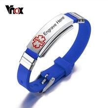 Vnox Livraison Gravure Alerte Médicale Bracelet En Acier Inoxydable et En Caoutchouc ID Bracelet Bracelet 5 Couleurs