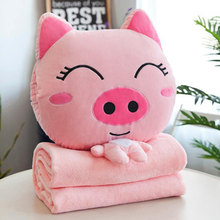 2019 Three-in-one Pillow Nap Blanket Plush Toy Cute Super Cute Cartoon Dual-use Pillow Quilt Plush Cat Doll Pillow Case Blanket(China)