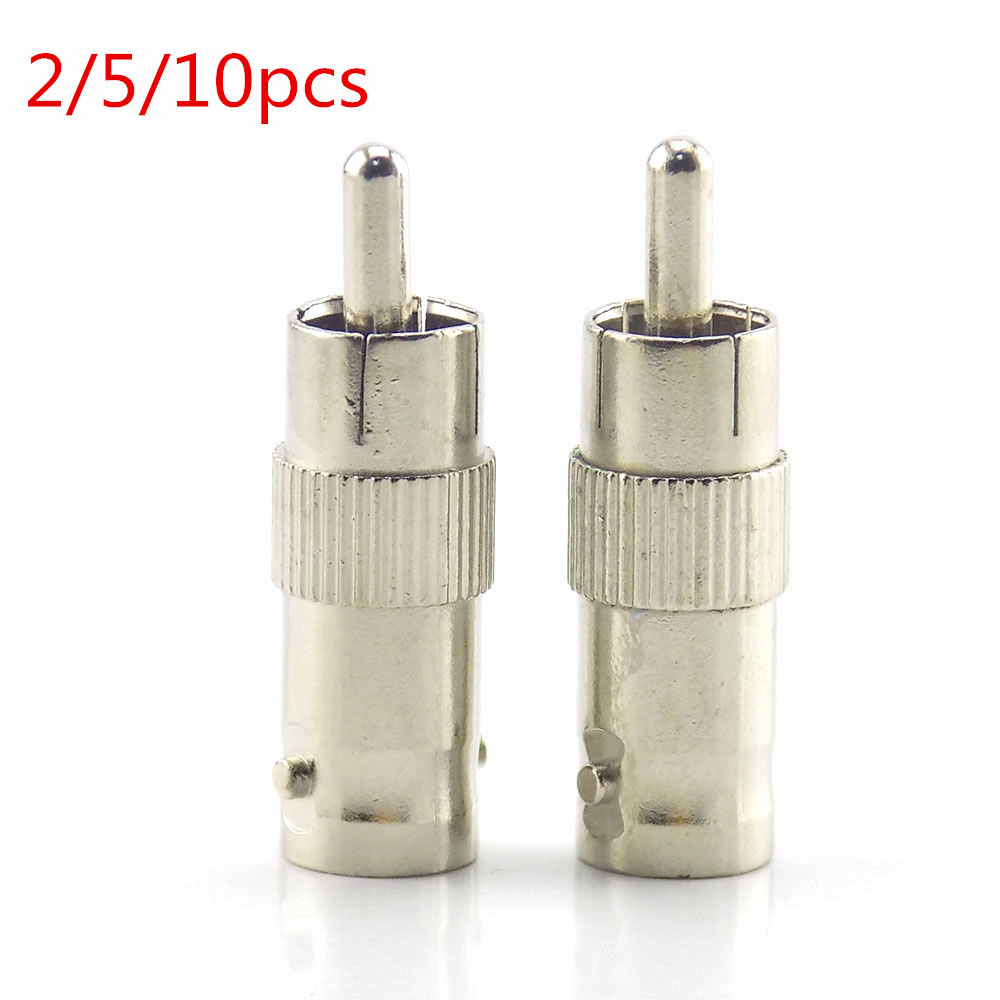 2/5/10Pcs Bnc Female Connector Plug To Rca Male Connector Splitter Adapter  Coupler For Cctv Rg59 Cable Camera K8