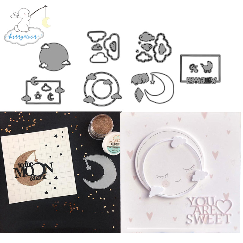 2019 New Arrival Moon And Stars Metal Cutting Dies Stencils For Scrapbooking/photo Album Stamps Decorative Embossing DIY Cards