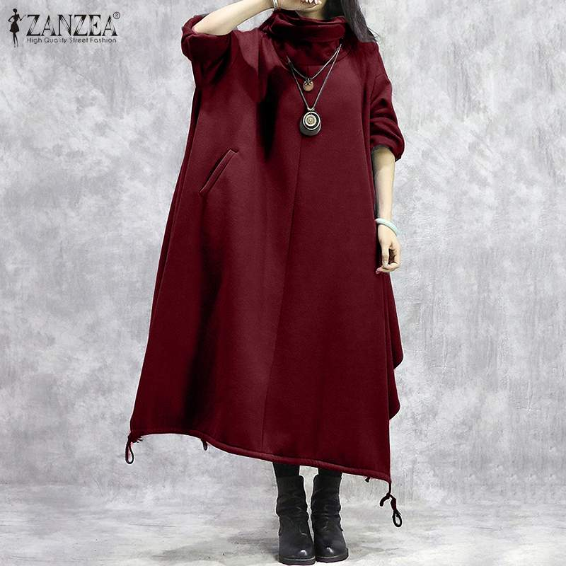 Autumn Vintage Hoodies Sundress ZANZEA Women Turtleneck Vestidos Winter Casual Solid Long Sleeve Long Sweatshirt Dress Kaftan