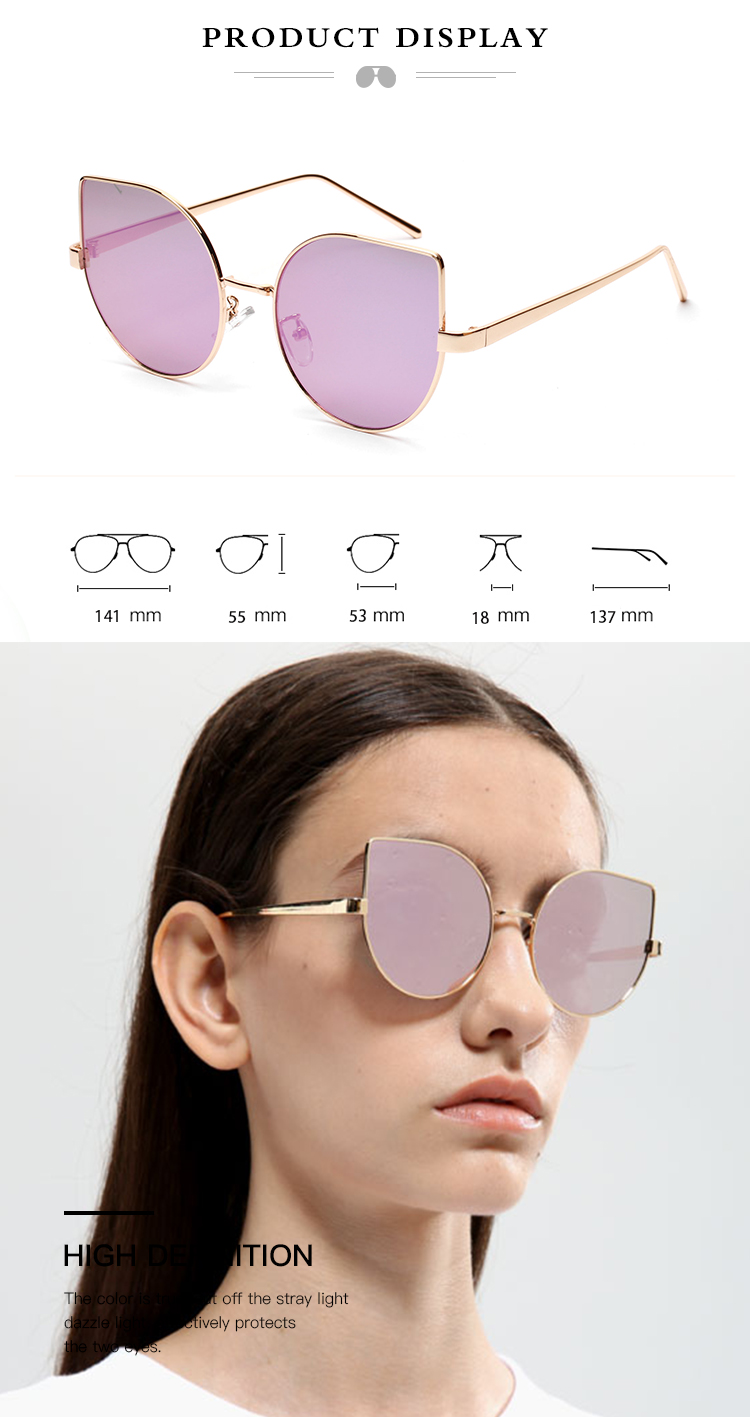 2019 Fashion Oversized Cat Eye Women Shade Sunglasses