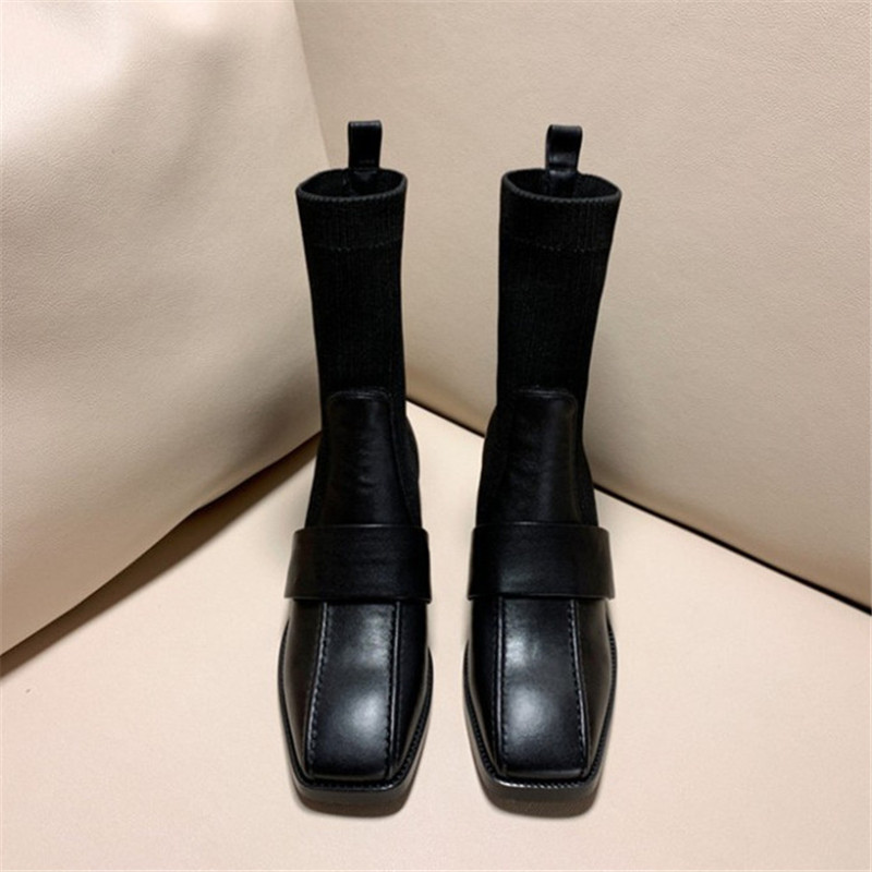 Модные полусапожки; элегантные женские вечерние сапоги с квадратным носком и змеиным узором; удобные женские сапоги на низком каблуке - 2