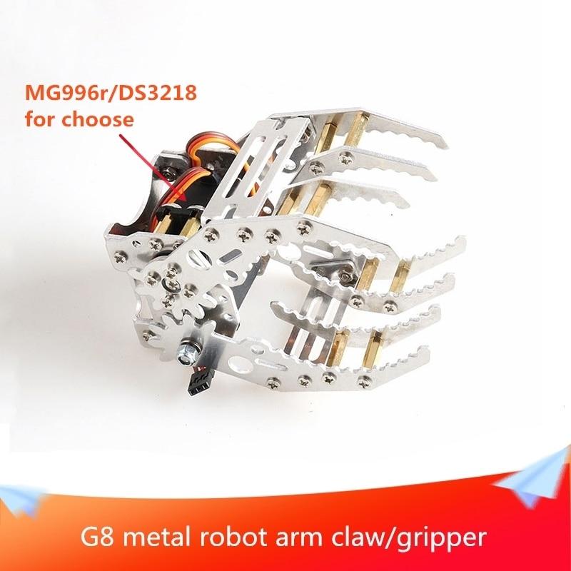 G8 Metal Aluminum Robotic Gripper Claw Paw Hand Finger for Robot Mechanical Clamp Mount Kit Manipulator Arm DIY Maker Education