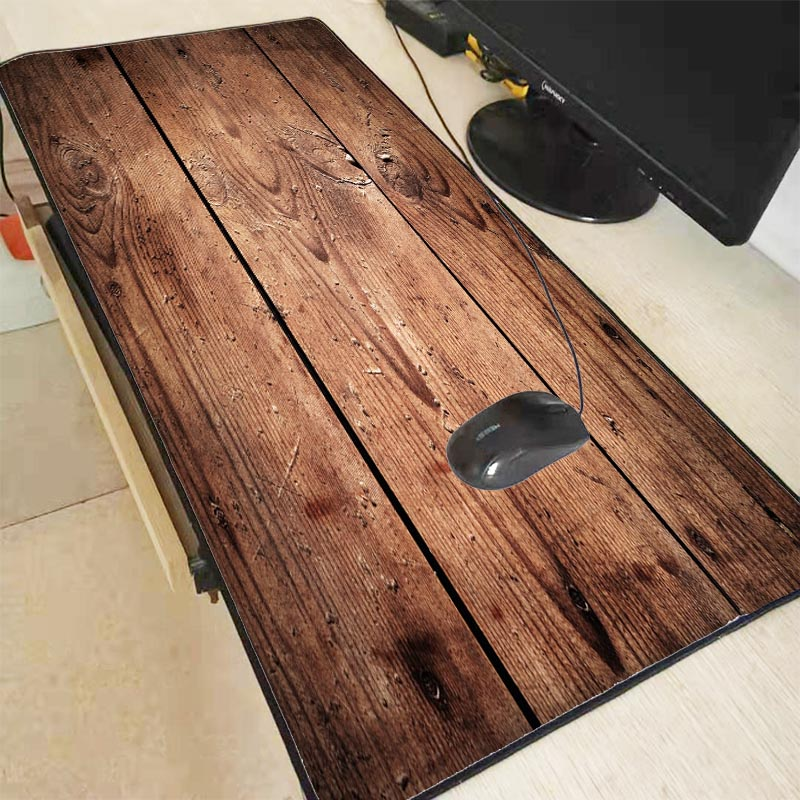 Mairuige Fashion Brown Wood Grain Laptop Gaming Large Locking Edge Mousepad BIG SIZE Rubber Game Mouse Pad for CSGO DOTA Gamer image
