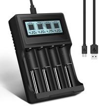 PALO cargador de batería con pantalla LCD, USB 14500 18650, 3,7 V, Li ion, cargador de batería recargable para 16350, 18500, 18650, 14500