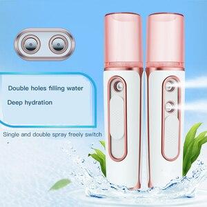 Image 3 - Umidificador facial portátil 2 em 1, sem fio, recarregável, difusor facial manual para nano pulverizador, cuidados com a pele, fabricante de névoa