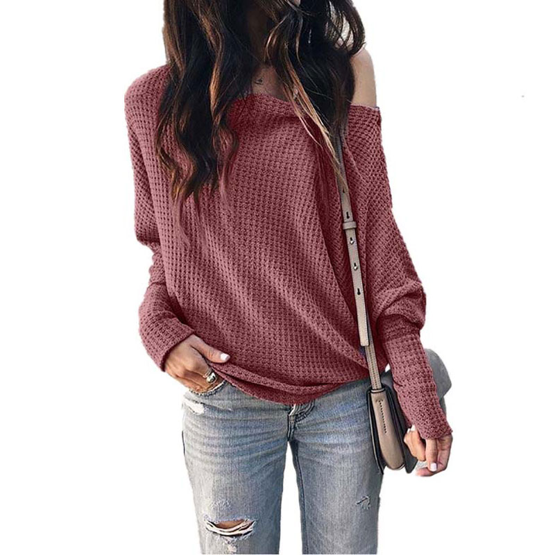2019 Autumn Off Shoulder Sweater Women Knitted Sweater Winter One Shoulder Sweater Ladies Long Sleeve Sweater Pullover Female