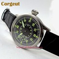 Стерильные мужские часы Corgeut  44 мм  с черным циферблатом и зеленым номером  17 драгоценностей  ручная обмотка  механические 6497
