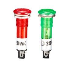 """Uxcell 100 шт. неоновые индикаторы AC 220 В тире лампы XD10-1 красный зеленый 9,5 мм 3/"""" Панель Крепление сигнальная лампочка-индикатор"""