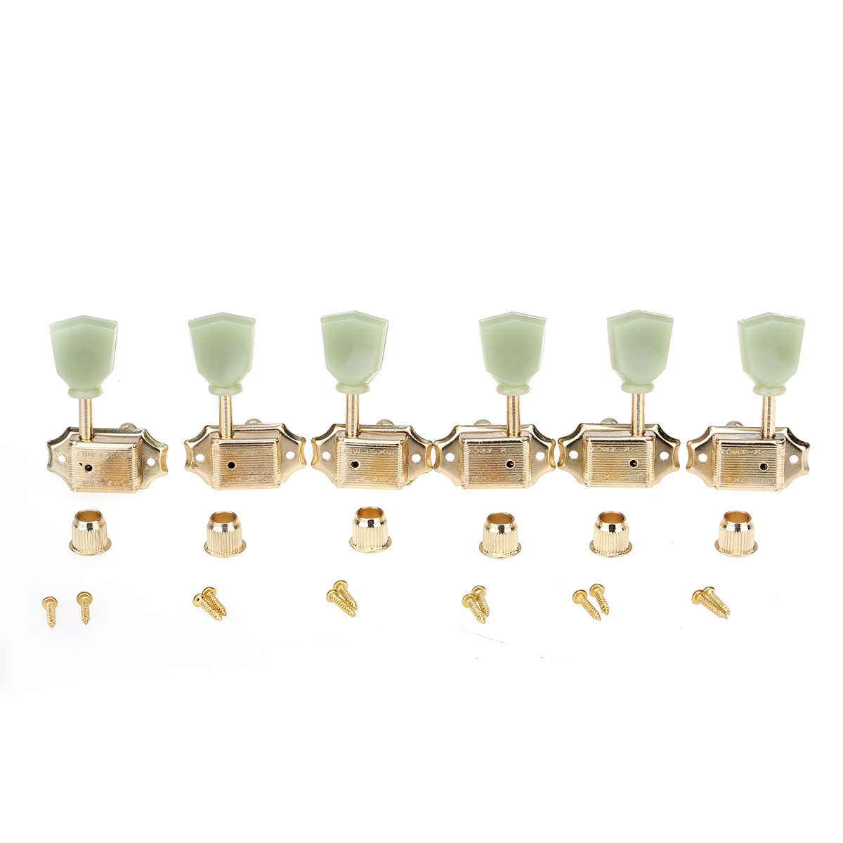 Wilkinson 3R3L Deluxe Vintage Keystone Guitar Tuners Machine Heads Tuning Pegs Keys Set for Gibson or Epiphone Les Paul, Gold