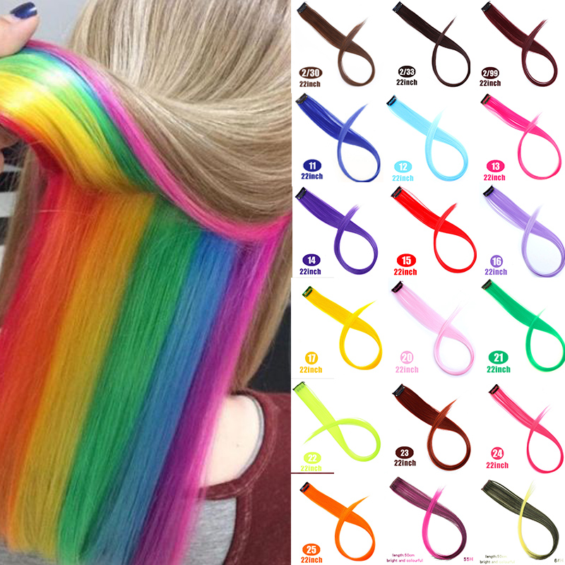 DIANQI Color Straight Hair Clip In One Part Hair Extensions Highlight Rainbow Hair Streak Synthetic Color Pink Hair