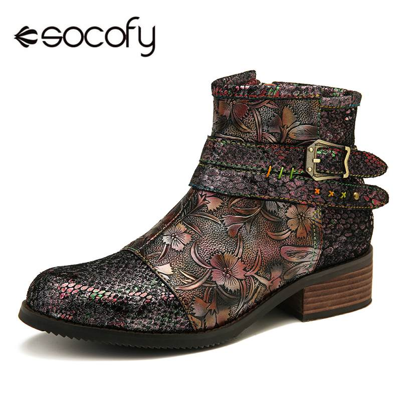 SOCOFY Women Metal Buckle Pattern Cow Leather Shoes Comfy Flat Ankle Boots