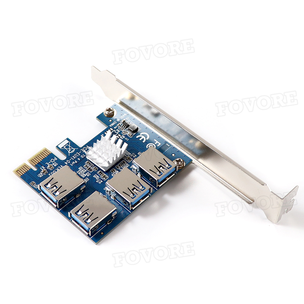 PCIE PCI-E PCI Express Riser Card 1x to 16x 1 to 4 USB 3.0 Slot Multiplier Hub Adapter For Bitcoin Mining Miner BTC Devices 6
