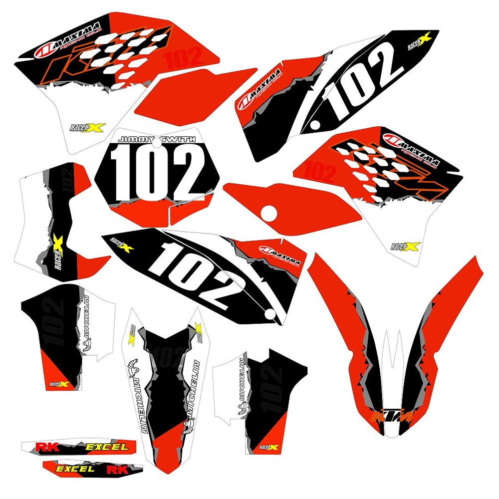 FOR <font><b>KTM</b></font> SX SXf <font><b>EXC</b></font> 125 450 2007 <font><b>2008</b></font> 2009 2010 2011 Full <font><b>Graphics</b></font> Decals Stickers Custom Number Name 3M Stickers Waterproof image