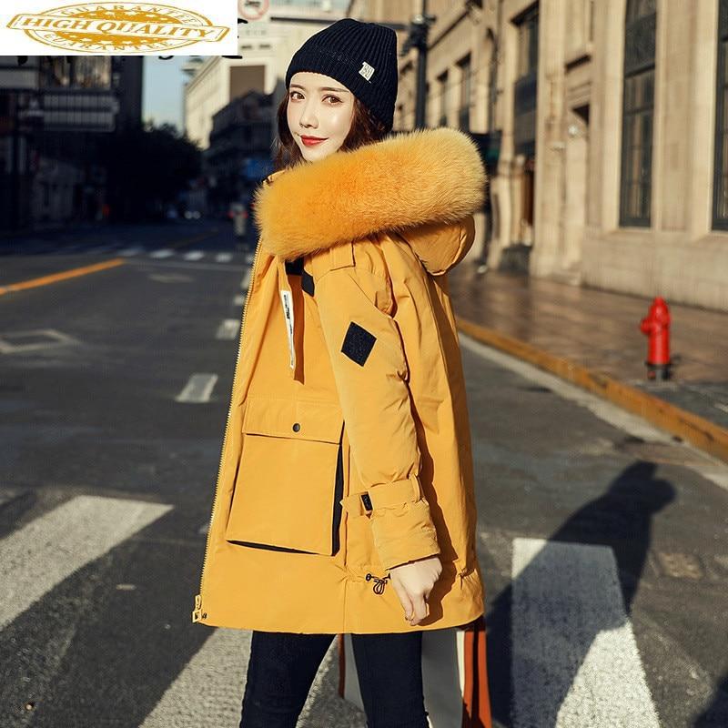 White Duck Down Jacket Women Clothes 2019 Winter Coat Women Korean Fox Fur Collar Puffer Jacket Women Warm Parka 19D98802 YY2112